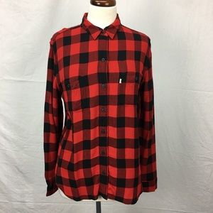 Levi's Red/Black Check Boyfriend Button Down Top